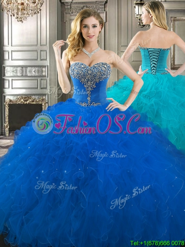 Popular Beaded Bodice and Ruffled Really Puffy Quinceanera Dress in Royal Blue