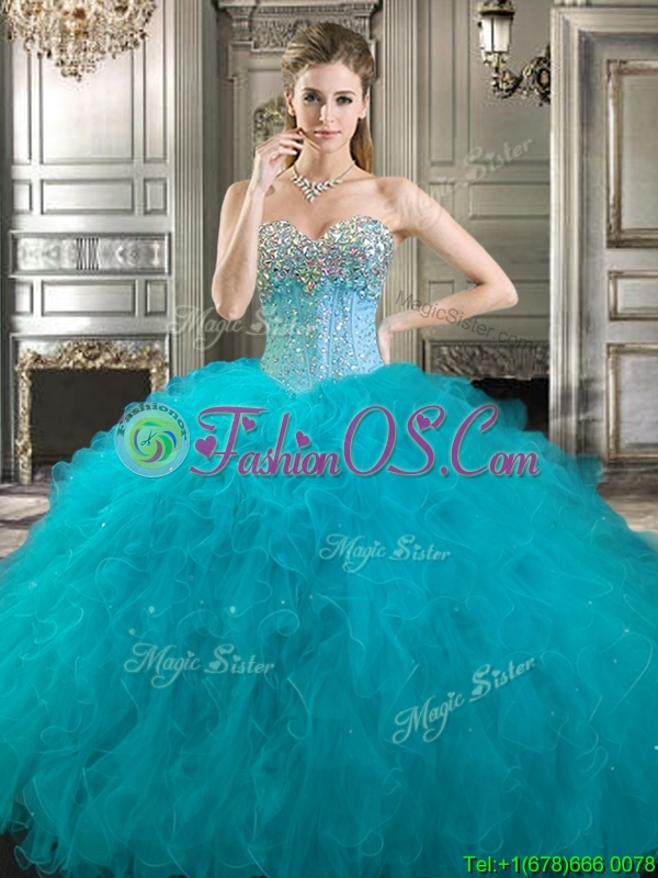 Pretty Beaded and Ruffled Tulle Sweet 16 Dress in Fuchsia