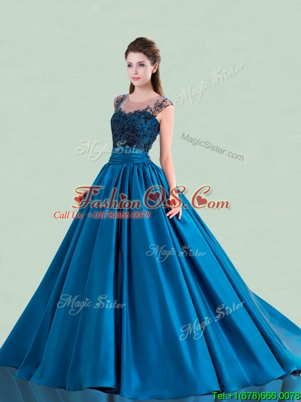 See Through Scoop Brush Train Quinceanera Dress with Cap Sleeves