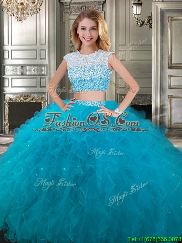 Two Piece Scoop Cap Sleeves Quinceanera Dress with Beading and Ruffles
