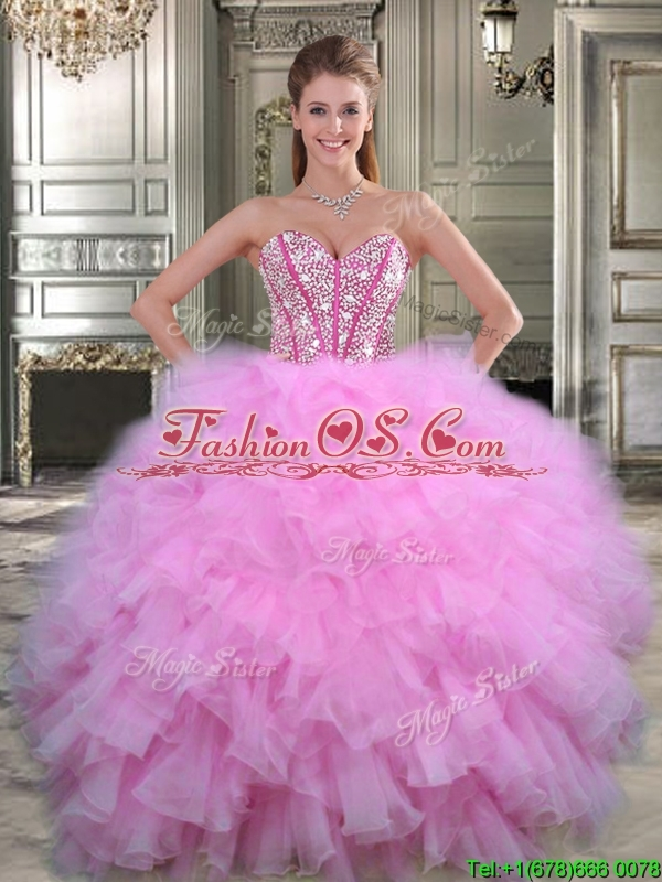 Visible Boning Beaded Bodice and Ruffled Quinceanera Dress in Watermelon Red