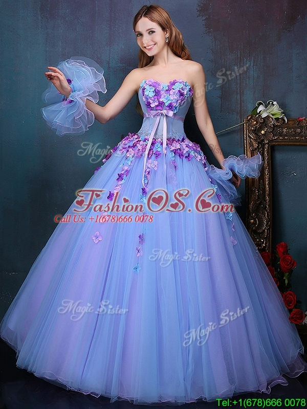 Wonderful Really Puffy A Line Quinceanera Dress with Appliques and Bowknot