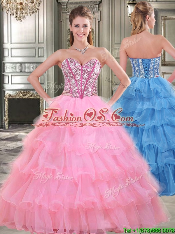 Wonderful Rose Pink Sweet 16 Dress with Beading and Ruffled Layers