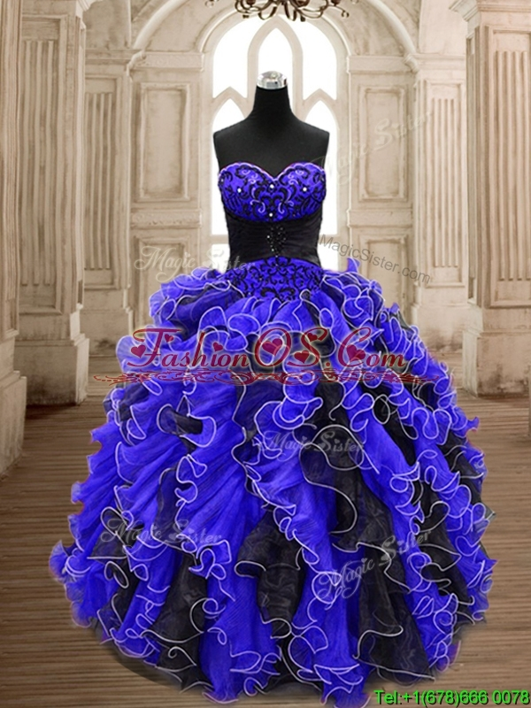 Best Beaded and Ruffled Quinceanera Dress in Black and Royal Blue