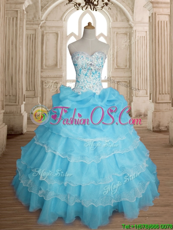 Classical Really Puffy Baby Blue Quinceanera Dress with Ruffled Layers and Beading
