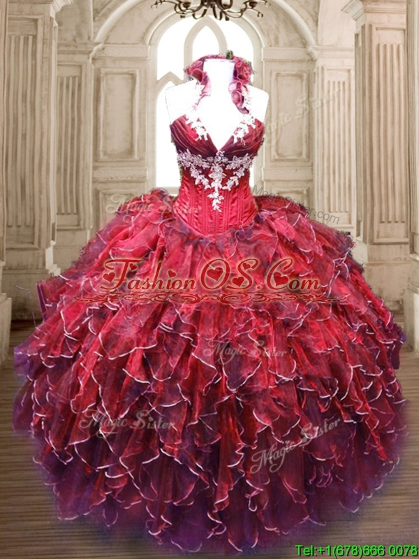Discount Applique and Ruffled Halter Top Sweet 16 Dress for 2016
