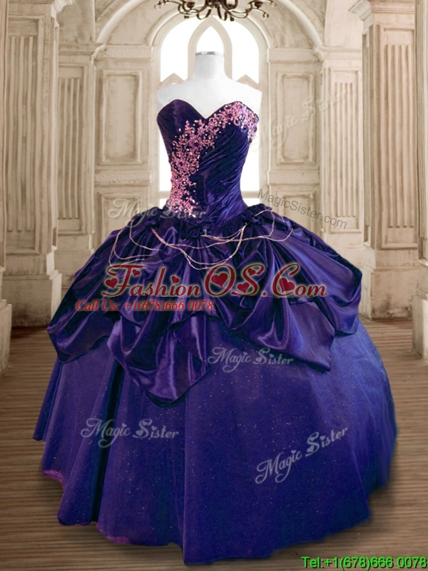 Popular Beaded and Ruffled Taffeta Sweet 16 Dress in Purple