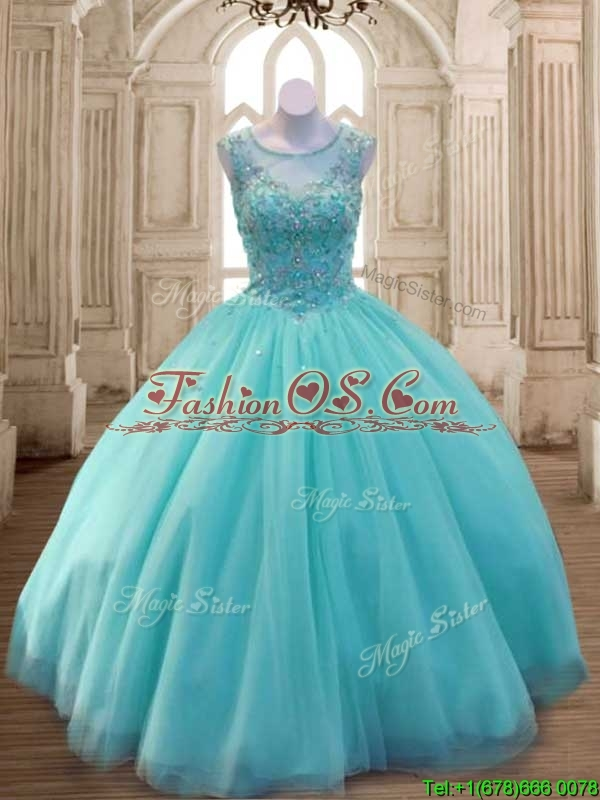 See Through Scoop Aqua Blue Quinceanera Dress with Beading for Spring