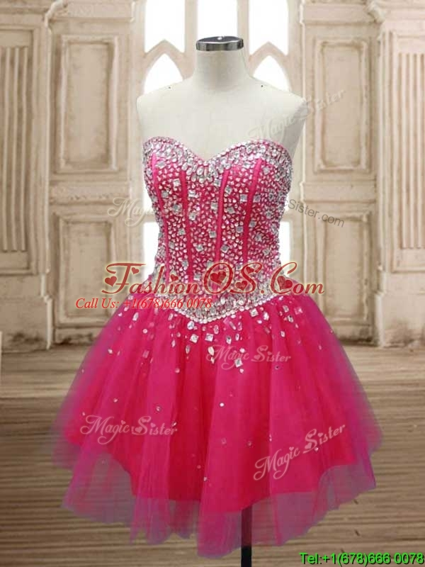 Wonderful A Line Hot Pink Detachable Quinceanera Dress with Beading
