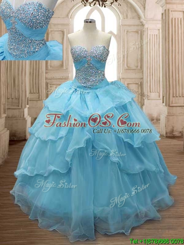 Comfortable Baby Blue Organza Sweet 16 Dress with Beading and Ruffled Layers