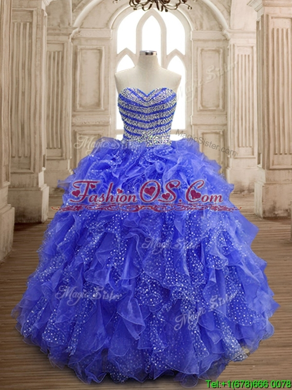 Latest Beaded and Ruffled Organza Quinceanera Dress with Really Puffy