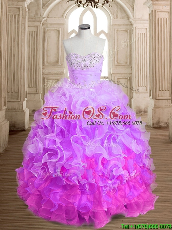 Most Popular Beaded and Ruffled Colorful Quinceanera Dress in Organza