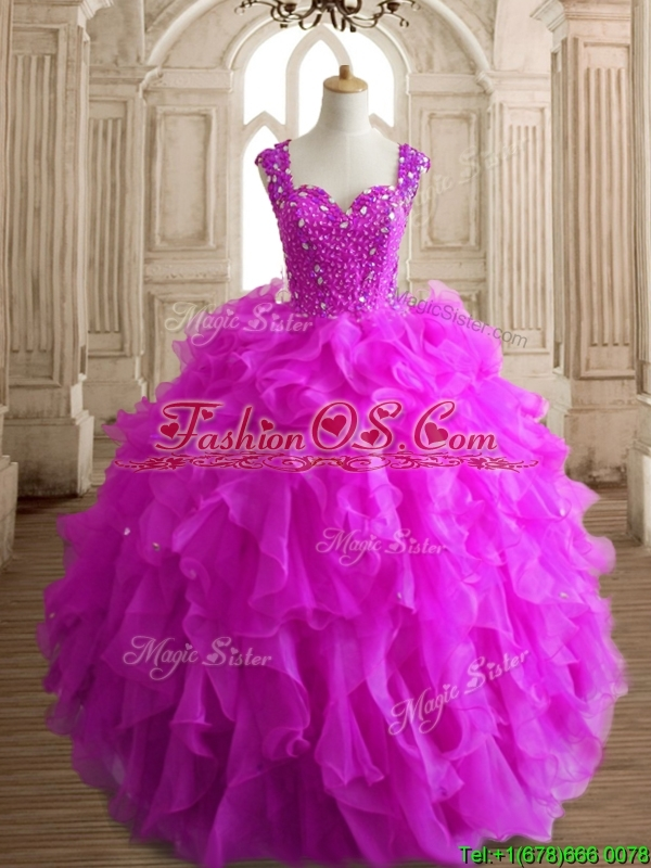 Elegant Straps Big Puffy Quinceanera Dress with Beading and Ruffles