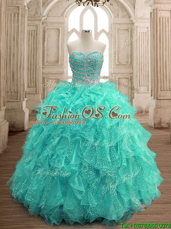 Gorgeous Beaded and Ruffled Big Puffy Sweet 16 Dress in Turquoise