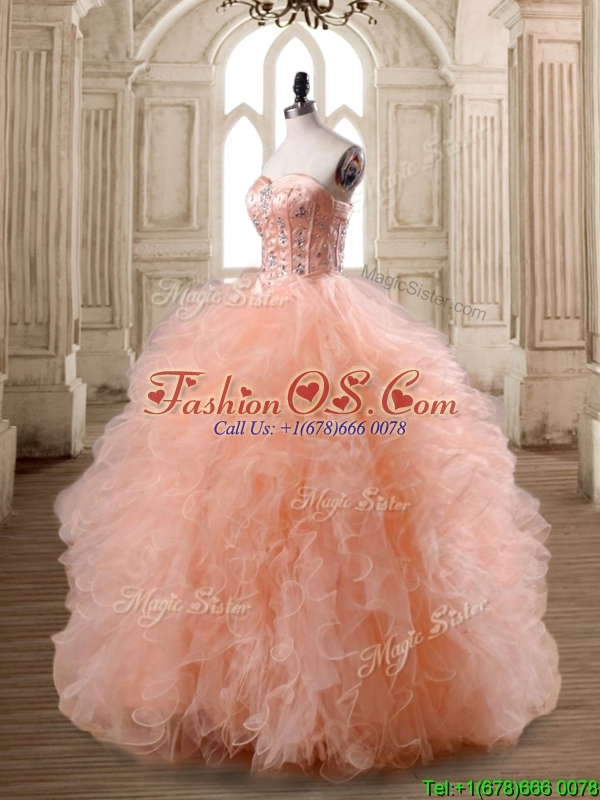 Lovely Peach Big Puffy Quinceanera Dress with Beading and Ruffles