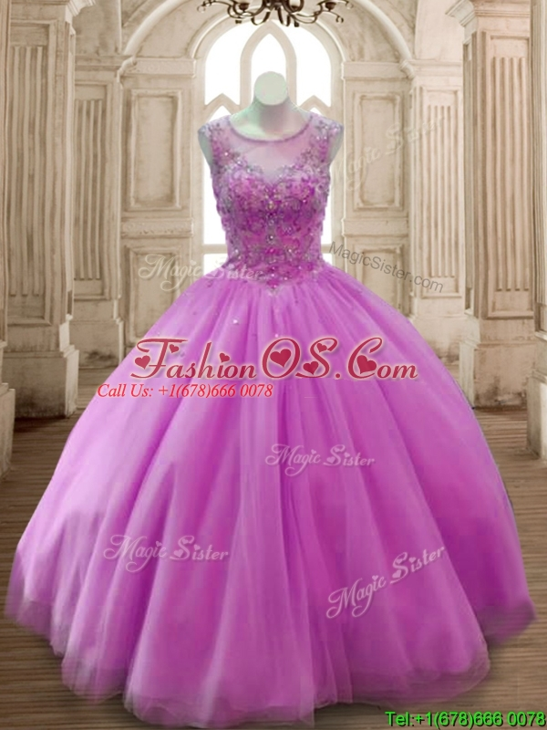 New Arrivals See Through Scoop Beading Quinceanera Dress in Lilac