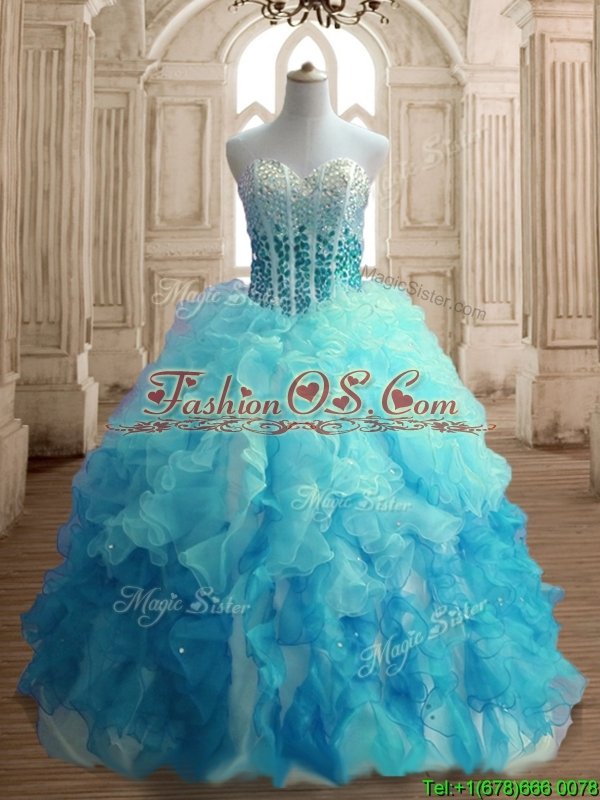 Popular Beaded Bodice and Ruffled Quinceanera Dress in Gradient Color