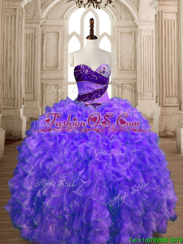 Romantic Organza Beading and Ruffles Sweet 16 Dress with Puffy Skirt