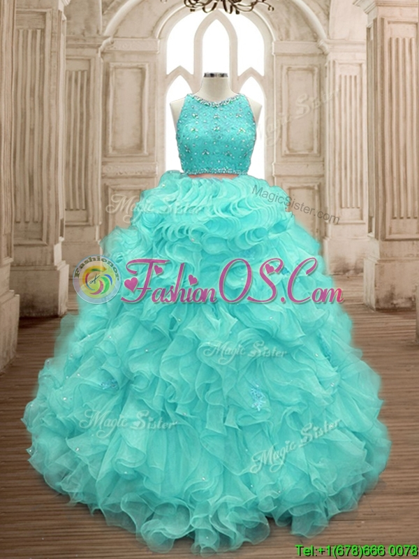 Sweet Two Piece Scoop Mint Quinceanera Dress with Beading and Ruffles