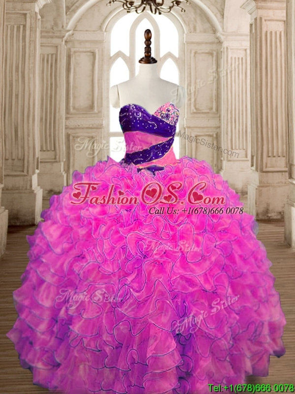 Inexpensive Big Puffy Hot Pink Quinceanera Dress with Beading and Ruffles