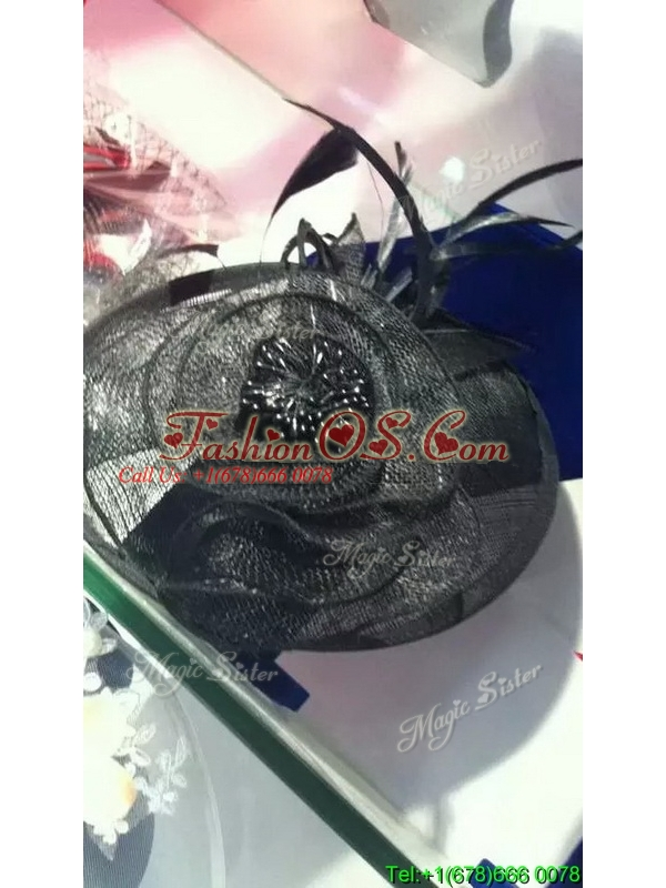 Latest Black Headpieces with Imitation Pearls and Feather