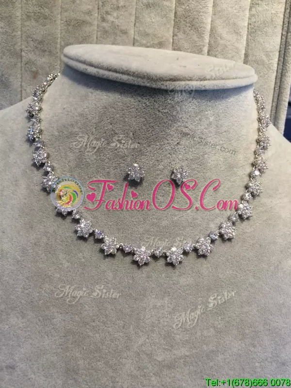 Lovely Jewelry Set with Flower Shaped Rhinestone for Wedding