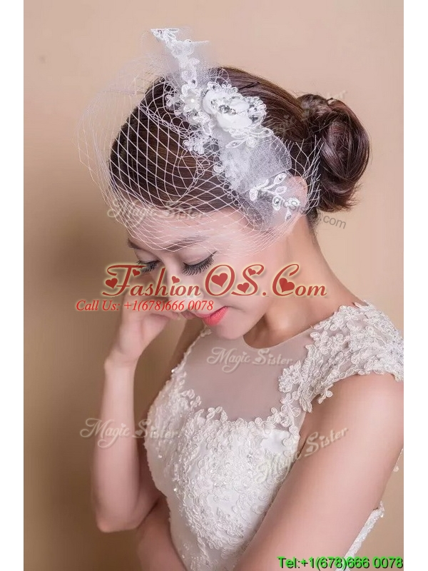 Lovely Net Yarn and Beaded Headpieces for Briadl