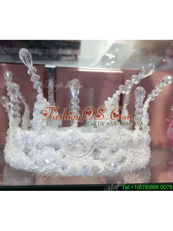 Elegant Rhinestoned and Laced Tiara for Ladies