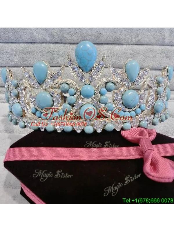 Affordable Tiara with Baby Blue Rhinestone