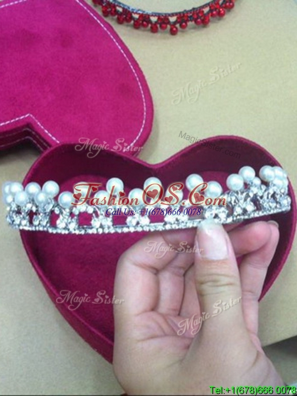 Inexpensive Silver 2017 Tiaras with Beading