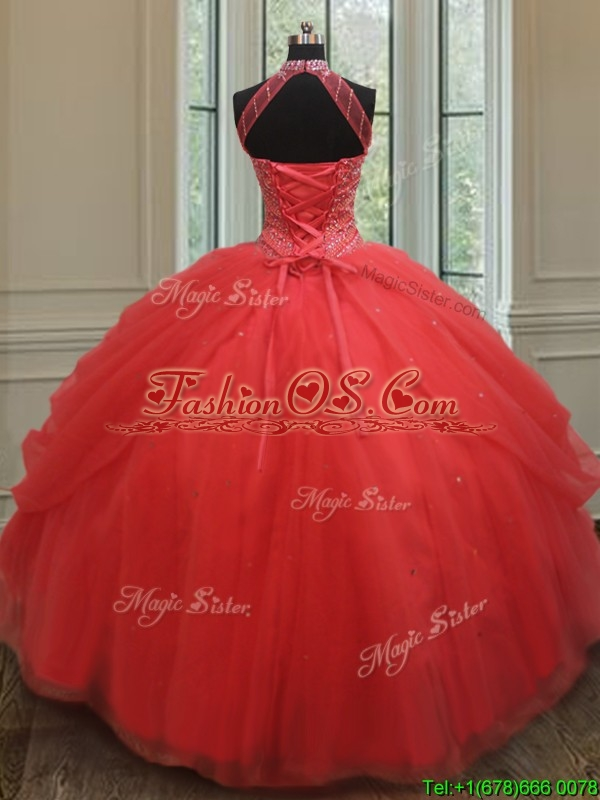 2017 Best Selling See Through Beaded Decorated Halter Top Quinceanera Dress