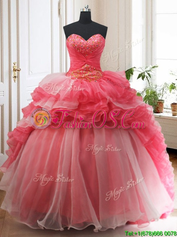 2017 Brush Train Red and White Quinceanera Dress with Beading and Ruffled Layers