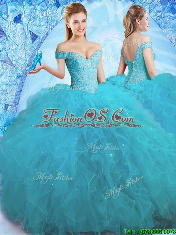 2017 Cheap Beaded Off the Shoulder Teal Quinceanera Dress in Tulle