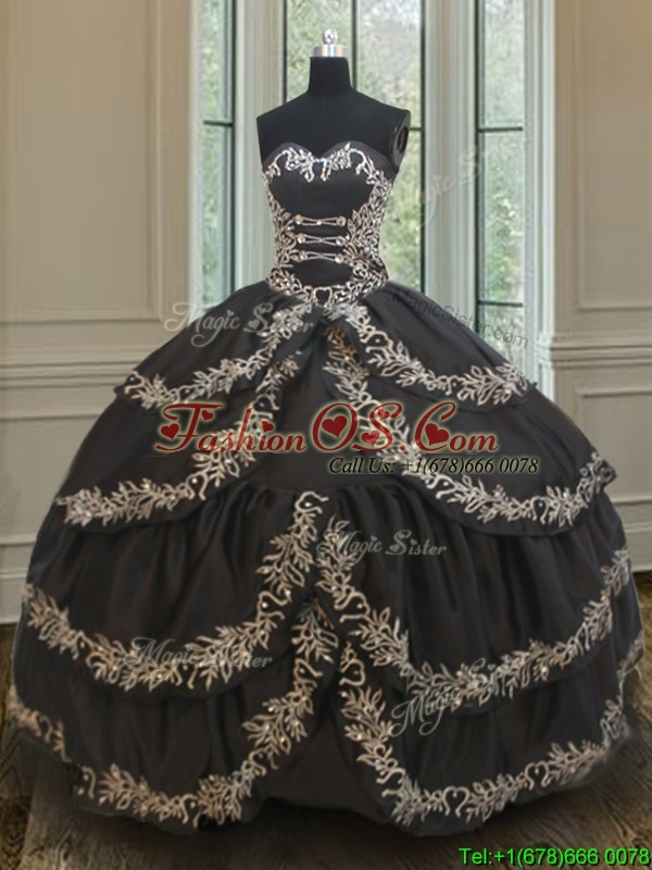 2017 Exclusive Taffeta Black Sweet 16 Dress with Embroidery and Ruffled Layers