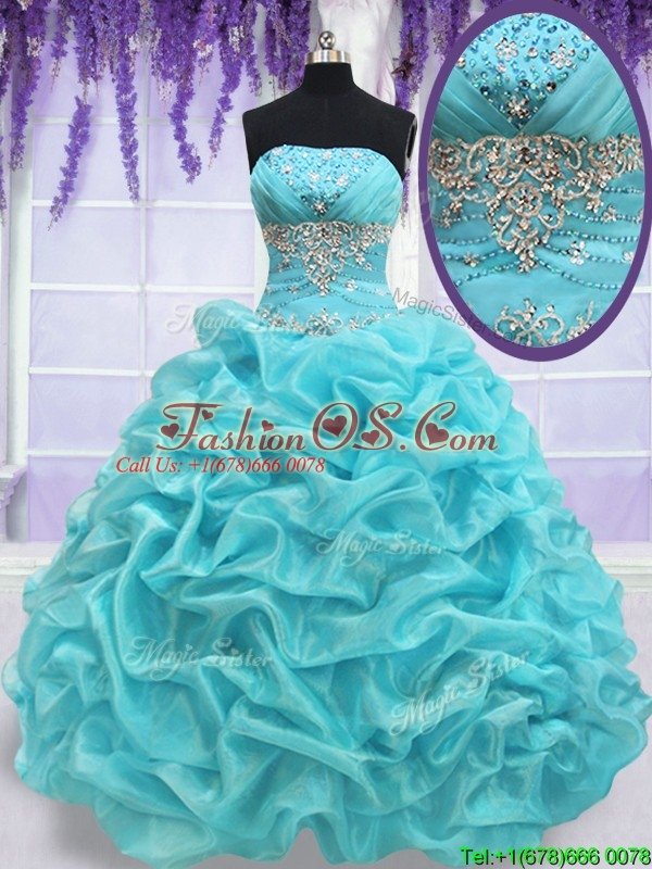 2017 Top Seller Strapless Aquamarine Quinceanera Dress with Beading and Pick Ups