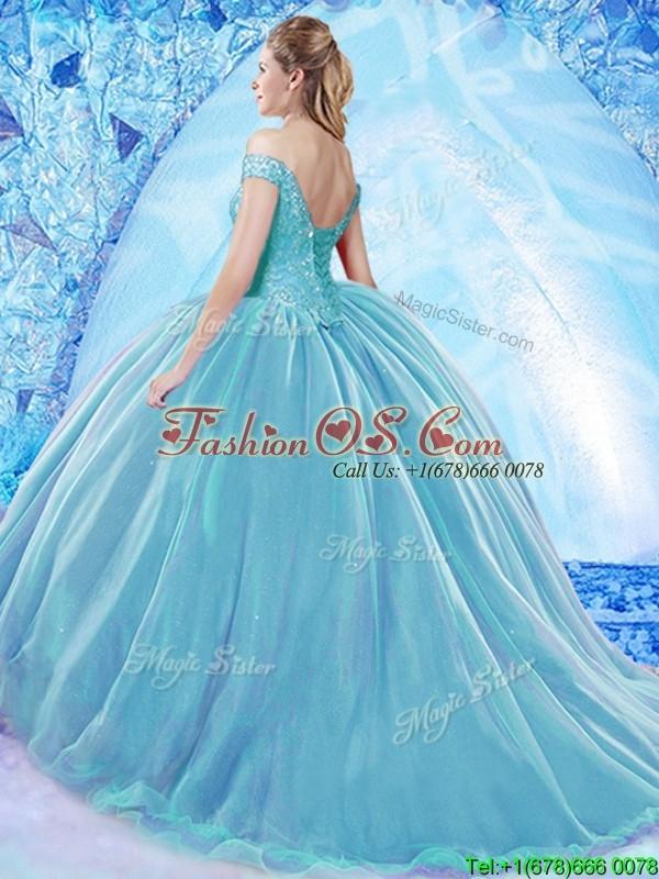 Beautiful Beaded Bodice Organza Quinceanera Dress with Brush Train