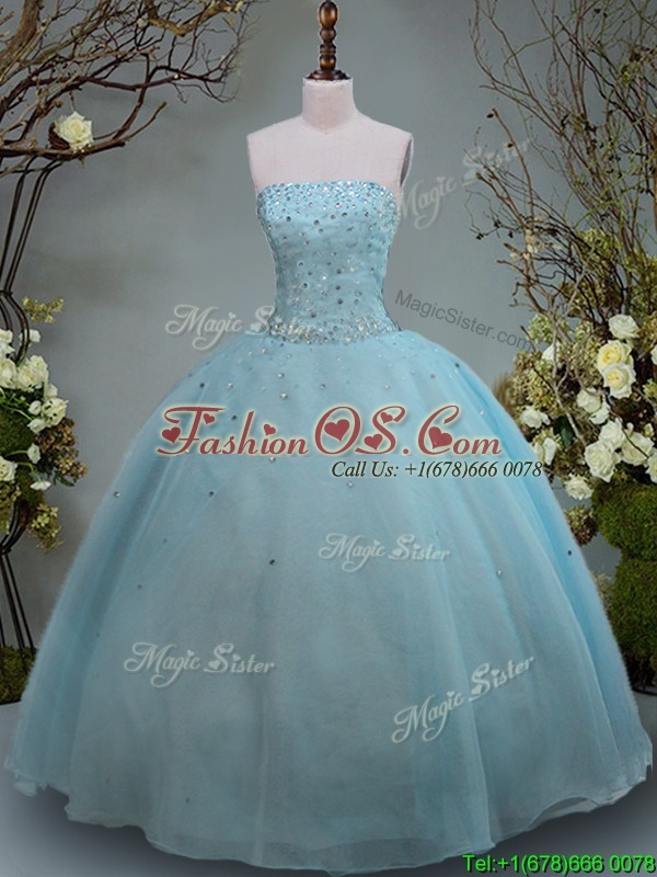 Discount Big Puffy Aquamarine Strapless Quinceanera Gown with Beading