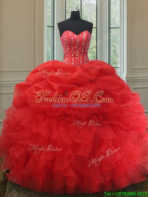 Elegant Visible Boning Bubble Quinceanera Dress with Beading and Ruffles