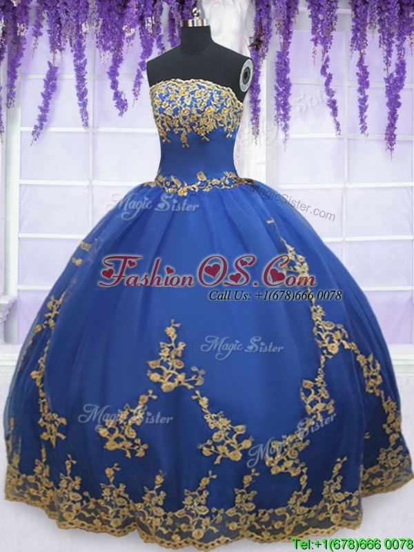 Low Price Strapless Zipper Up Blue Quinceanera Gown with Gold Appliques