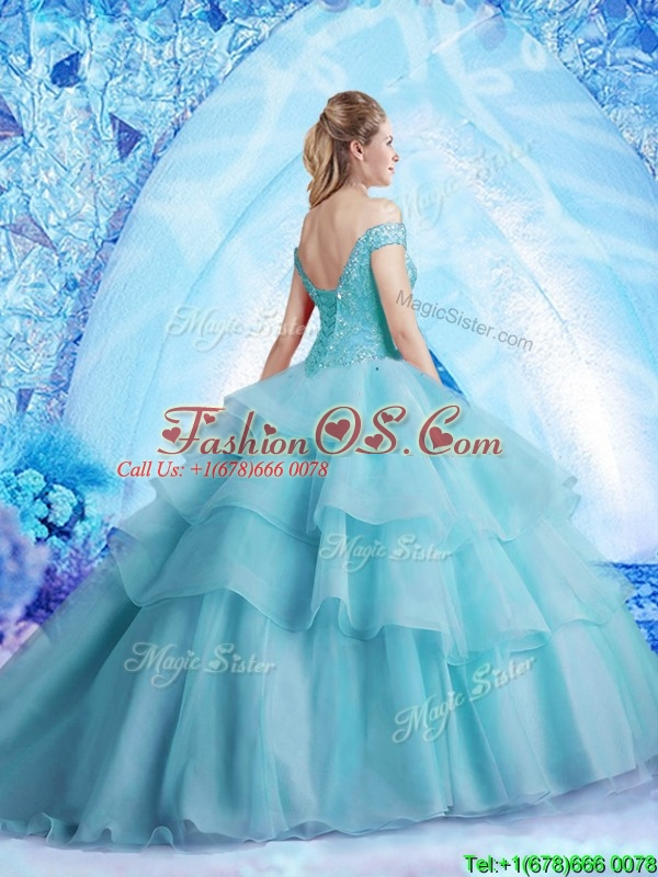 Pretty Brush Train Quinceanera Dress with Beading and Ruffled Layers
