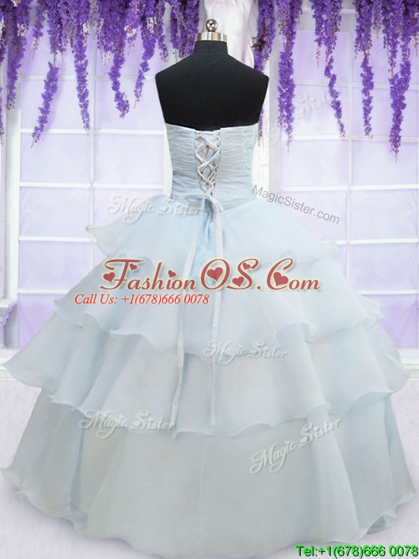 Pretty Light Blue Organza Quinceanera Dress with Appliques and Ruffled Layers