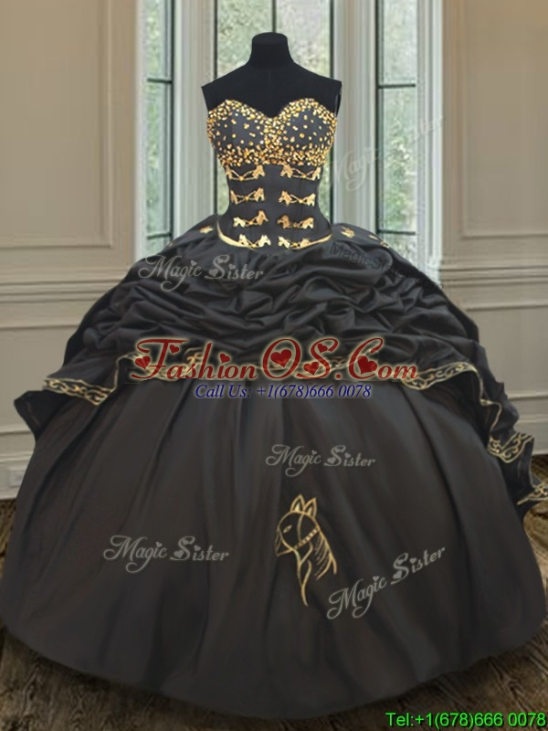 Wonderful Bubble Embroideried and Beaded Black Quinceanera Dress in Taffeta