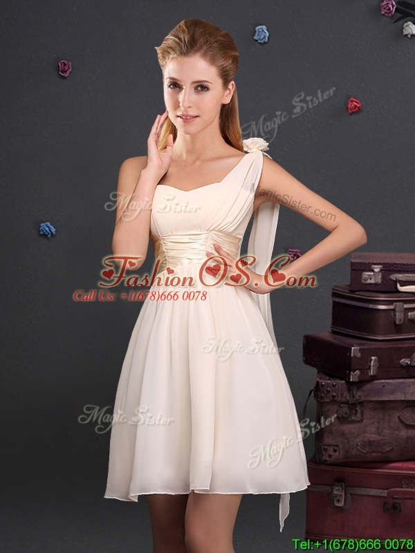 2017 Discount Empire Chiffon Ruched Short Prom Dress in Champagne