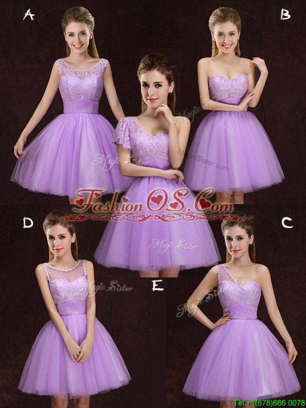2017 Fashionable Lilac Short Prom Dress with Lace and Ruching