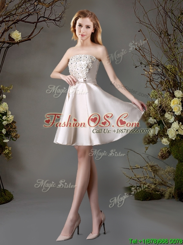 2017 Perfect Applique and Bowknot Champagne Short Dama Dress for Summer