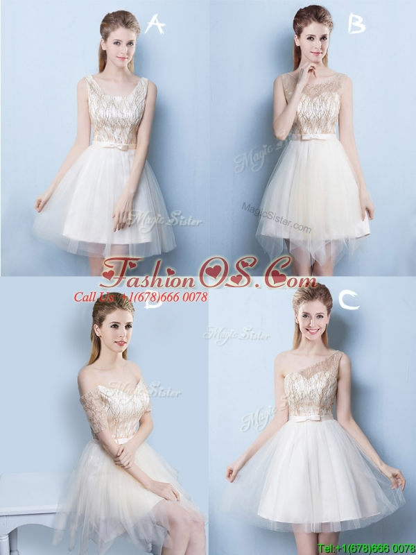 2017 Popular Champagne Square Short Prom Dress with Sequins and Bowknot