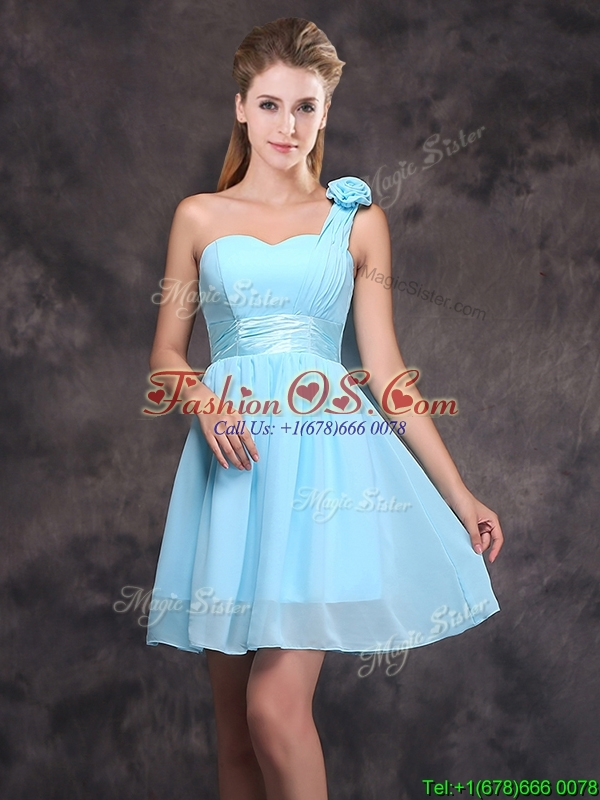 2017 Unique Handcrafted Flower Short Prom Dress with One Shoulder