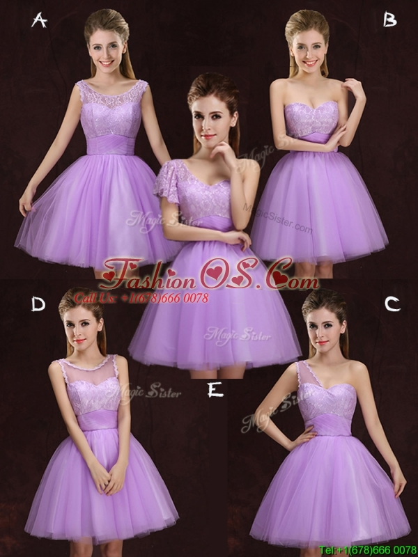 Affordable One Shoulder Tulle Short Prom Dress with Lace