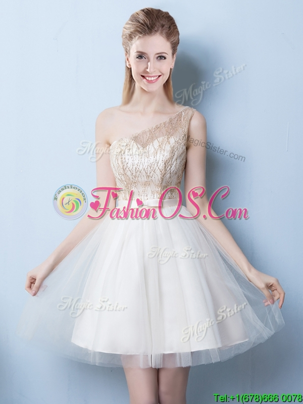 Beautiful One Shoulder Sequined and Bowknot Champagne Prom Dress