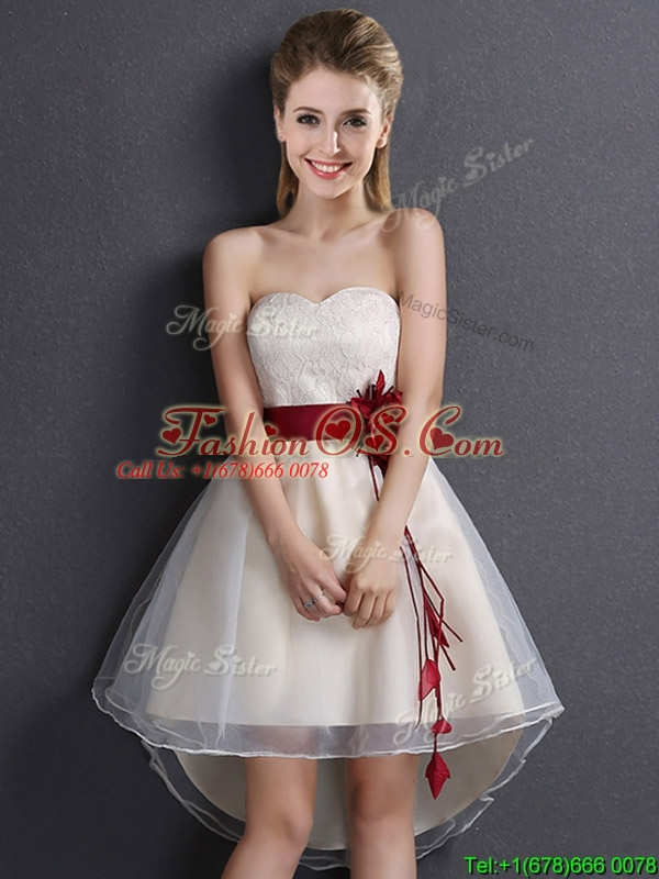 Classical High Low Sweetheart Champagne Prom Dress in Organza